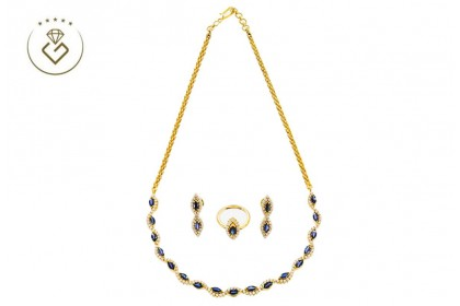 4005 Blue Stone Grandeur Style Diamond Gold Necklace(neck, 43CM, 25.6g)(ear 7.46g)(ring, 25CM, 4.8g)  (Set: Earrings and Ring)