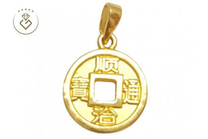 "30055 3D Hollow ""Shunzhi Tongbao"" Pendant (2MM) (2.3CM) (1.52G) [999 Gold]"